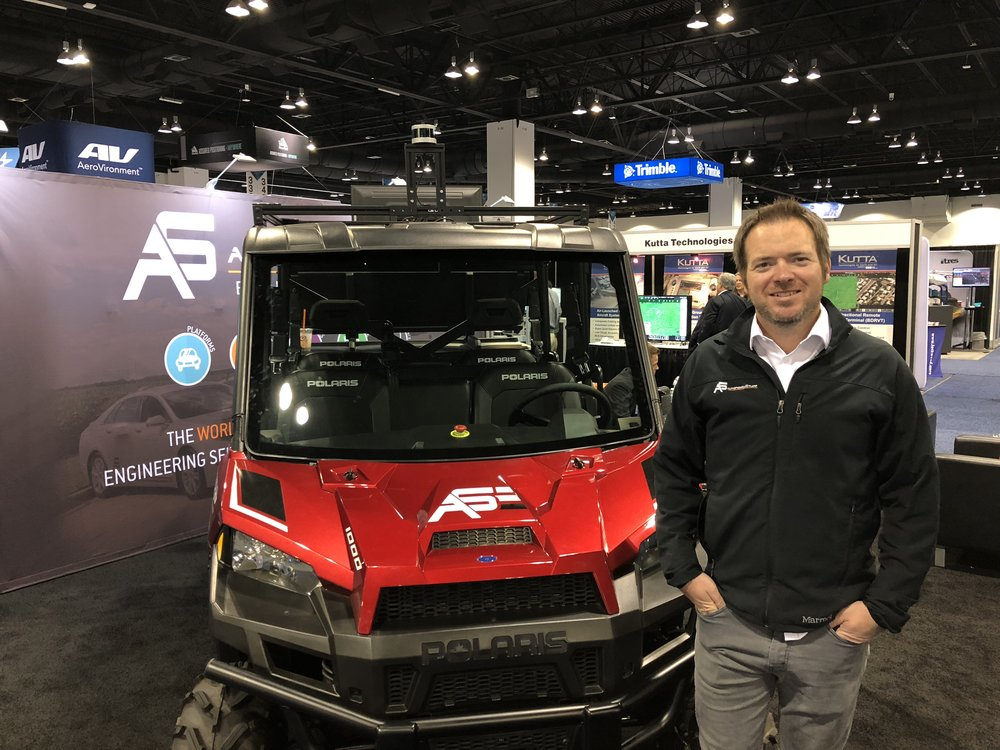 AutonomouStuff CEO Bobby Hambrick at the Association for Unmanned Vehicle Systems International Conference in Denver earlier in May. The company was mentioned in the conference's keynote as a major player in the autonomous technology space. (Photo: Christian Prenzler/AdaptBN)