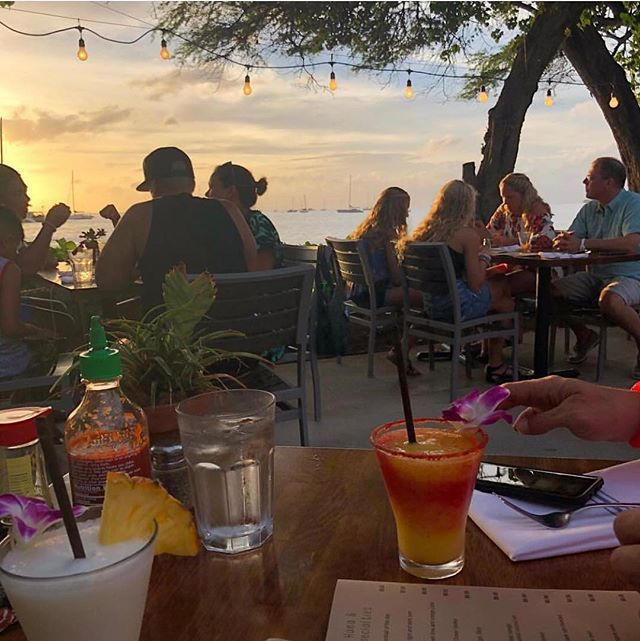Ocean view, cocktail and a #Lahaina sunset. There's no place we'd rather be! 🧡  PC: @esmeraldae1