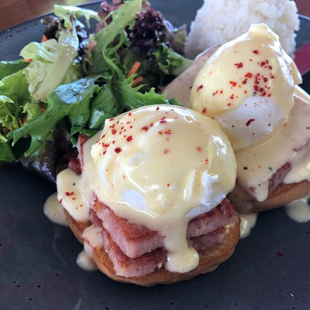 Spamp Eggs Benedict! 🤤 First of all, we make our own spam, serve it on sweet rolls from our Hoaloha Bakeshop, with house hollandaise. Add your choice of fruit or green salad with potatoes or rice and you've got a seriously ono breakfast!