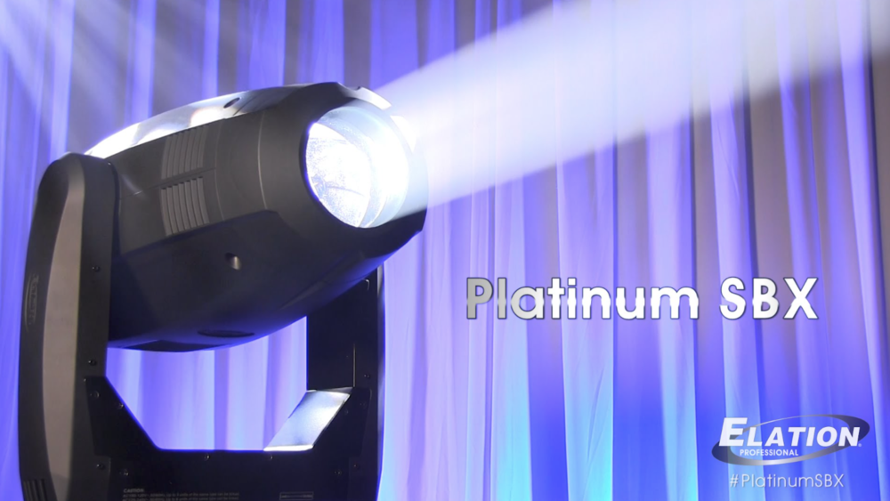 ELATION SBX - The new Platinum SBX™ is an innovative full featured patent pending design 3-in-1 illuminare which can be utilized as a beam, spot, or wash fixture, featuring the brand new Phillips™MSD Platinum 17 RA 350W, 6,900K, 85CRI lamp, 15,000 total lumens delivering comparable output to 700W fixtures, 3° to 18° zoom in beam mode and 5° to 30° zoom in spot mode, 10 dichroic colors including UV, CTO, CTB, plus white (open), 8 rotating-interchangeable and 12 static-stamped gobos, rotating 8-facet prism, frost filter, Art-NET (DMX Over Ethernet) support, 5pin DMX in/out, RJ45 Ethernet in/out, and powerCON in/out connections, (6) button control full color 180° reversible menu display, 550W max power consumption, and a multi-voltage universal auto switching power supply (100-240v).VIDEO