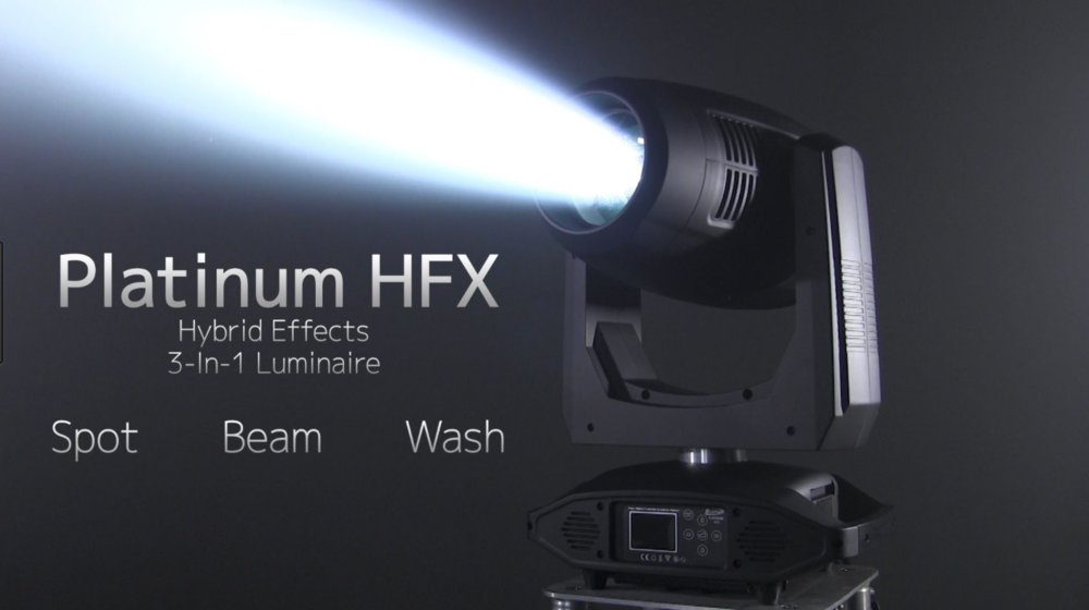 ELATION HFX - The Platinum HFX™ is a hybrid versatile 3-in-1 luminaire which can be utilized as a beam, spot, or wash fixture, featuring the brand new Philips™ MSD Platinum 14R 280W 80CRI lamp, 7,800K, 12,000 total lumens, 2.3° to 15° zoom in beam mode, 3° to 22° zoom in spot mode, and 10° to 34° zoom in wash mode, 13 dichroic colors including UV and a new Quad Color (RGBY) filter, CTO and CTB color correction, 8 rotating-interchangeable and 12 static-stamped gobos, 8-facet and linear rotating, and 10-facet static prisms, wash frost effects, DMX, RDM (Remote Device Management), Art-NET, and sACN support, 5pin DMX, RJ45 Ethernet, and powerCON in/out connections, (6) button control full color 180° reversible menu display, and a multi-voltage universal auto switching power supply (100-240v).VIDEO