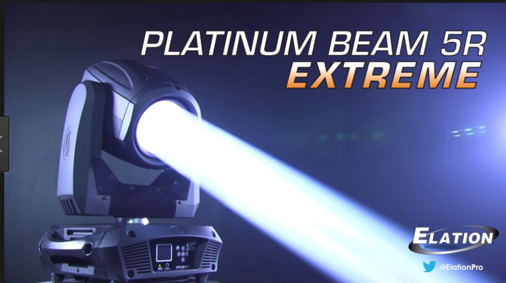 ELATION 5R EXTREME - The Platinum Beam 5R EXTREME™ features the 189W Platinum 5R lamp, a 3° sharp pin spot beam, 8 facet rotating prism and frost effects, super fast 16 bit 3-phase pan/tilt motors, strobe (1-18 fps), dimming 0-100%, and focus, (12) colors including UV, CTO, CTB, and white, (8) metal rotating, indexing, interchangeable gobos, flicker free operation for TV and FILM, internal EWDMX wireless DMX receiver, remote device management protocol support, 3pin and 5pin DMX in/out and powerCON in connections, (6) button touch control panel, 350W max power consumption, and a multi-voltage universal auto switching power supply (120-240v).VIDEO