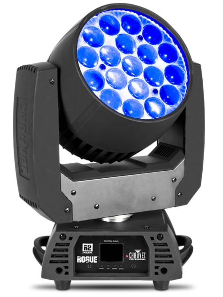 CHAUVET ROGUE R2 WASH - Rogue R2 Wash is a valuable addition to rental and production inventories. Durable and dependable, this moving wash workhorse produces a bright, powerful light and offers five zones of LED control to pixel map its 19 (15 W) RGBW quad-LEDs. A standout zoom range of 12° to 49° gives it the spread to cover even the largest areas. Smooth color mixing, simple and complex DMX channel profiles and powerCON in and out are just some of the other features that make this fixture a standout performer in any setting.VIDEO