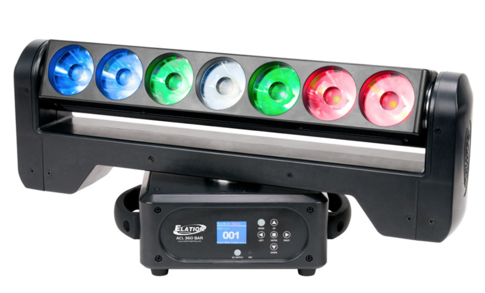 ELATION ACL 360 - The ACL 360 BAR™ is a versatile moving bar effect luminaire featuring (7) individual 15W RGBW 4-in-1 LEDs and the new advanced collimator optic lens, which combined produce a laser-like homogenized 4° color-changing beam from each lens which combined produce a 31° beam angle. Features include fast and precise16-bit continuous full 360° pan and tilt rotation, full individual pixel control, strobe, and selectable dimming curve effects, DMX, RDM (Remote Device Management), KlingNET™ and Art-NET support, 3/5pin XLR, powerCON, and RJ45 ethernet in/out connections, (6) button control full color 180° reversible menu display, 135W max power consumption, and a multi-voltage universal auto switching power supply (100-240v).VIDEO