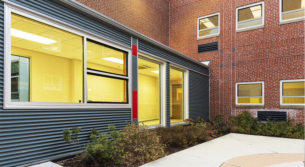 Lexington Schools remodeled. Commissioned by TBA Architects Inc. Boston - Concord Massachusetts .  Highlighting the use of modules on preexisting and historic structures to create spacious and friendly workspaces for K-12 students in the greater Boston Area.