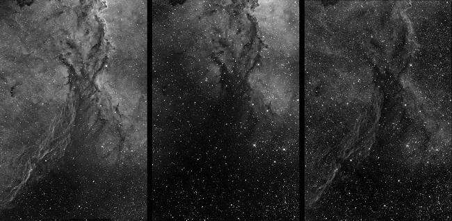 Figure 7 – Ha, OIII, and SII images (left to right) of NGC 6188 ready to be color combined into an HST RGB image. (T33 image)