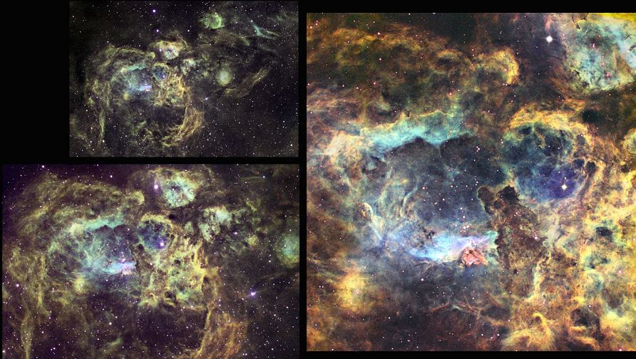 Figure 9 – HST palette narrowband images of NGC 6357 at multiple scales from a widefield T12 view to nebular core imaging with T27.