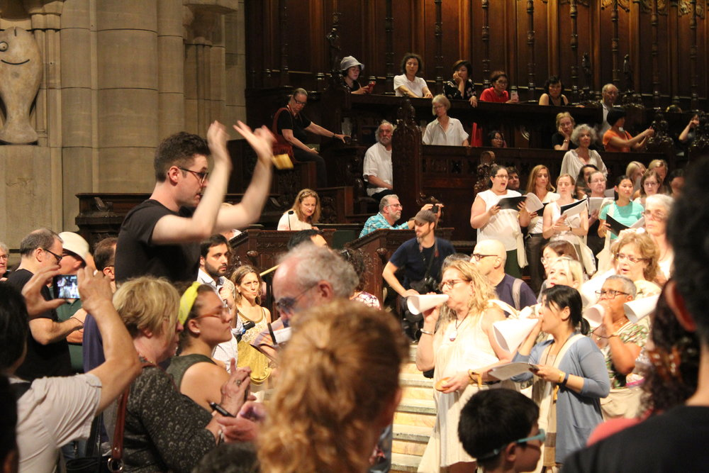 Conducting in John Luther Adams' premiere of  In the Name of the Earth  with the Mostly Mozart Festival at the Cathedral of St. John the Divine, 8.18  Photo: Nick Canovas
