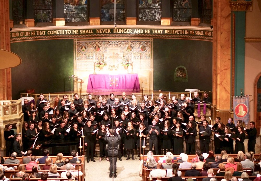 Conducting the Young New Yorkers' Chorus Mixed Ensemble, 12.18  Photo - Carlos Gomez