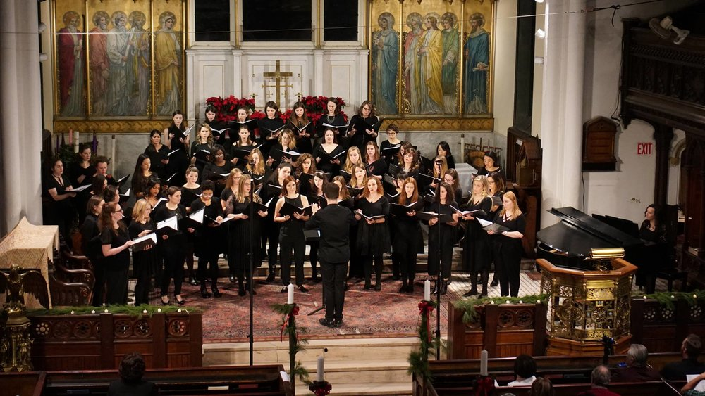 Conducting the Young New Yorkers' Chorus Women's Ensemble, 12.18  Photo - Carlos Gomez