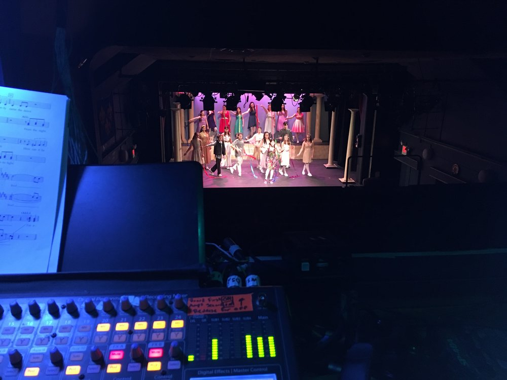 Rehearsal picture taken from the sound mix position.