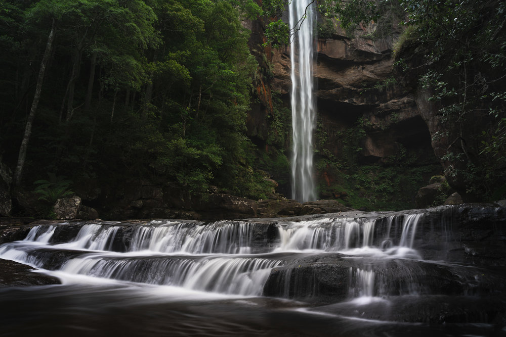 After some heavy rain, Belmore Falls near Robertson has the most beautiful detail in the falls. I used a shutter speed of 1/8 of a second for the falls and blended it with a 5 second exposure of the foreground stream.