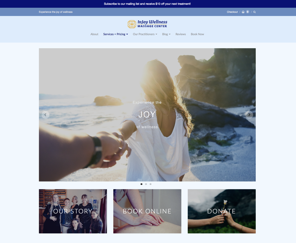 Web Design  for  InJoy Wellness