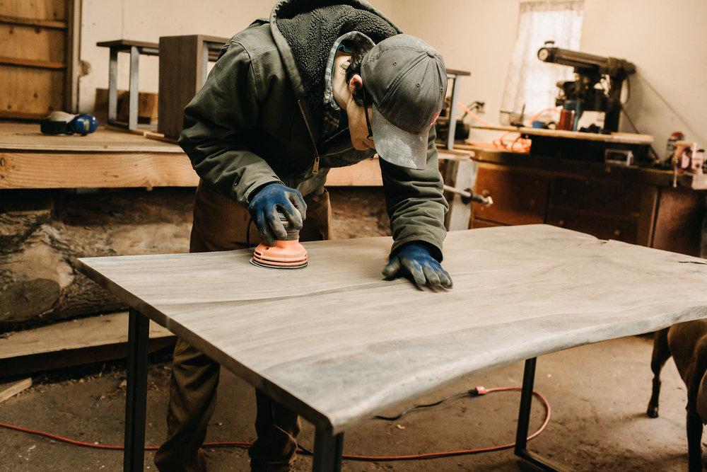 Sanding Custom Walnut Dining Table
