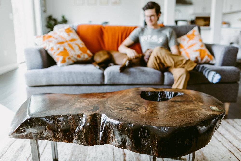 Ultra Thick Walnut Slab Coffee Table