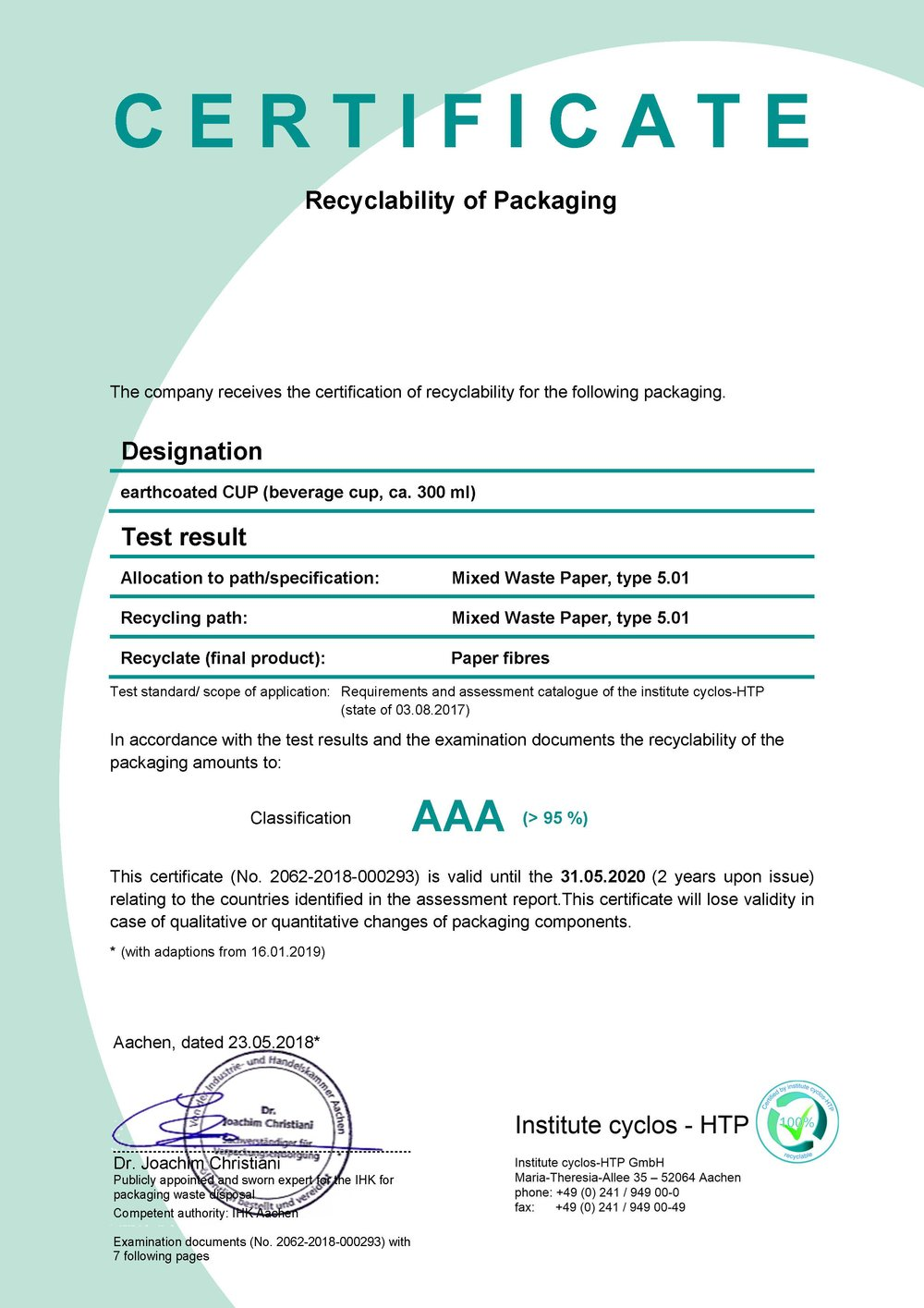 AAA Rating - Paper cups made with EarthCoating® qualify for a AAA rating for recyclability from Der Grune Punkt (Green Dot).