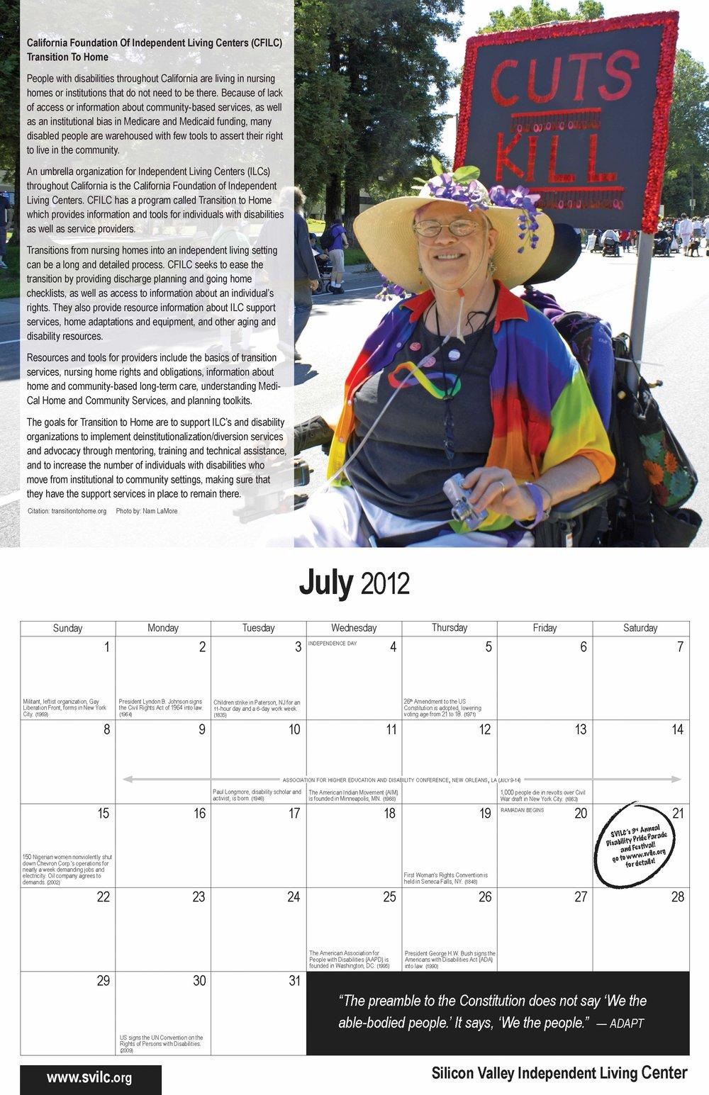 SVILC 2012 Calendar  July spread