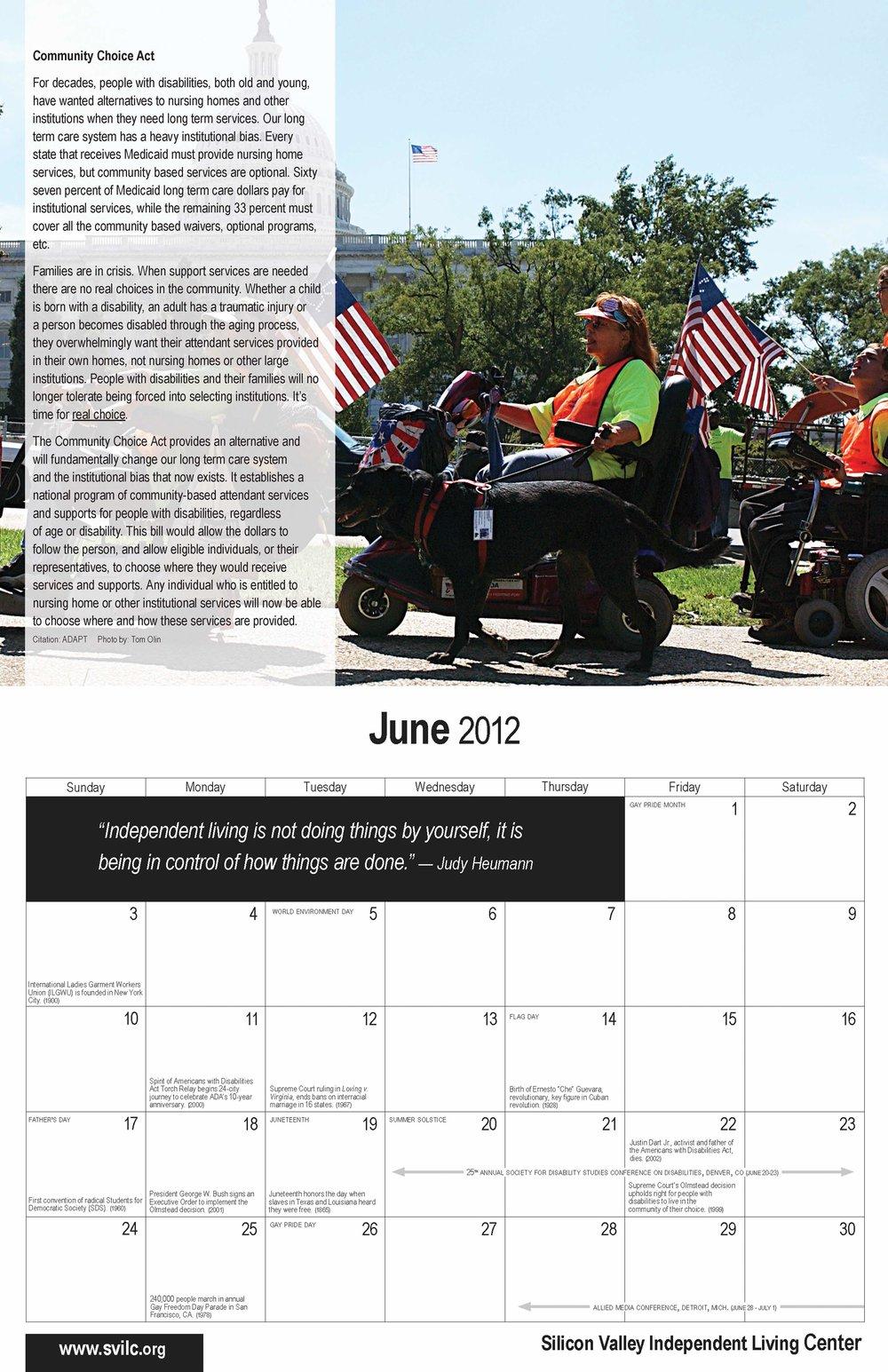 SVILC 2012 Calendar  June spread
