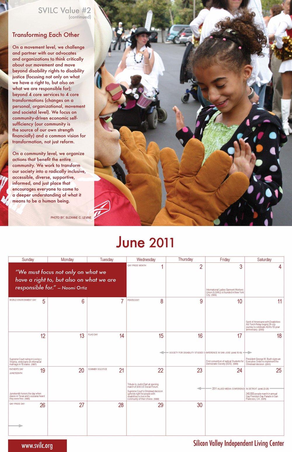 SVILC 2011 Calendar  June spread