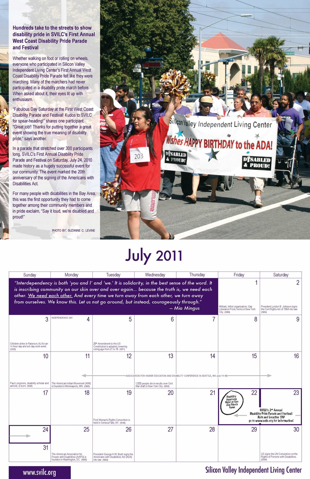 SVILC 2011 Calendar  July spread