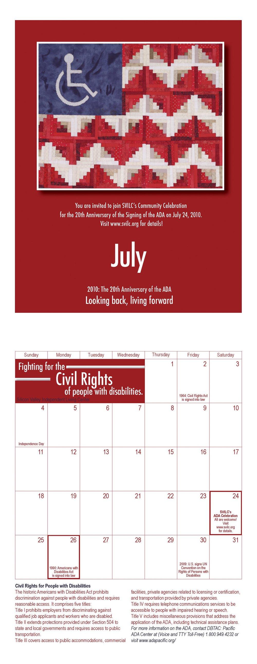 SVILC 2010 Calendar  July spread