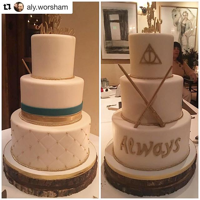 This cake was so much fun to make!!! Congratulations 🎊 @aly.worsham Cheers 🍻 to a magical couple. #Repost #deliciousartistry #harrypottercake #instacake #venturacakes #ojaiwedding ・・・ @deliciousartistry did such an amazing job with our half and half cake!!! Not only was it exactly what we wanted, but it was delicious. Sometimes compromising can be hard - but they made it so easy for us. Thank you!!! #weddingcelebration #weddingcake #halfandhalf #harrypotter #compromise #goodthingilovemyhusband