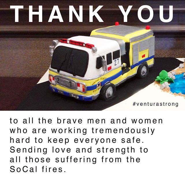 Thank you to all the firefighters and law enforcement protecting the safety of the community. Swipe to see how to donate. #ThomasFire #socal #VenturaStrong #venturacakes #staysafe