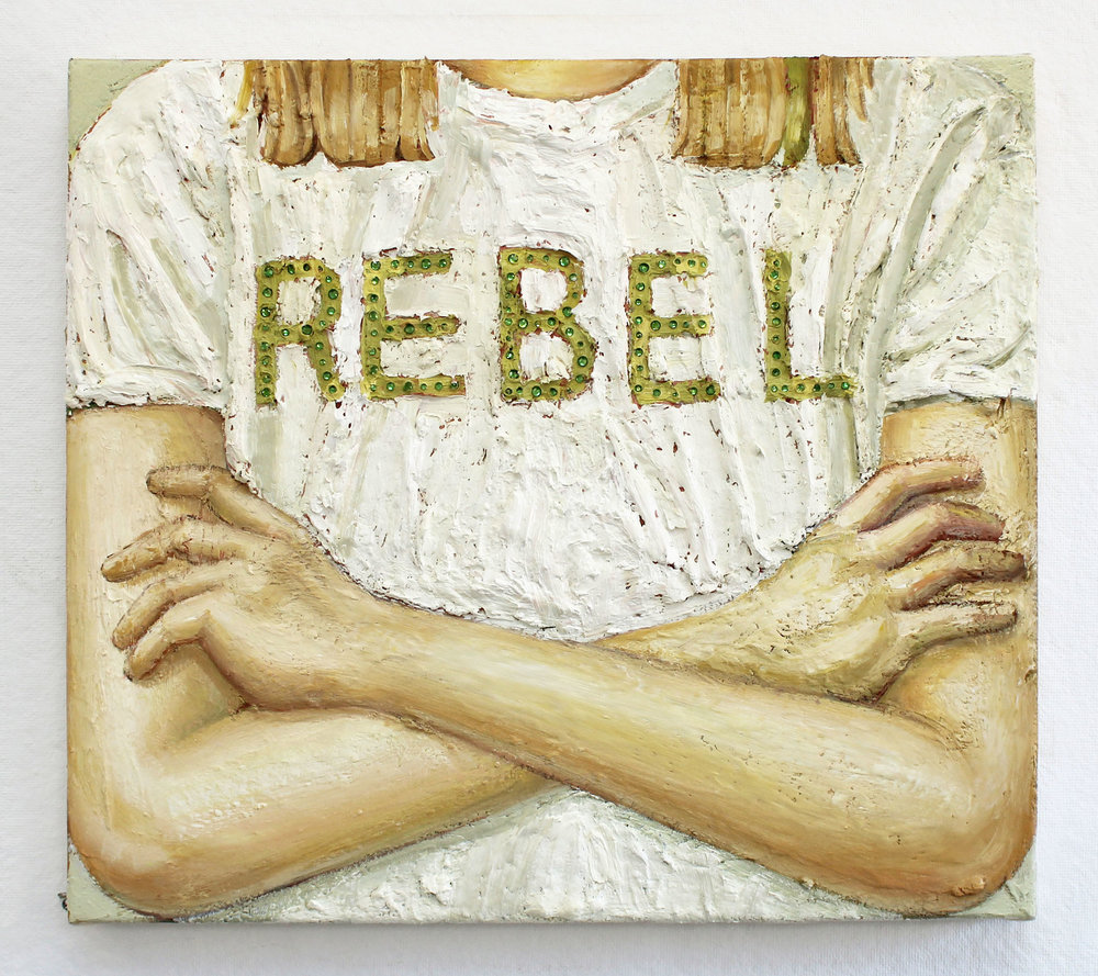 rebel  Oil and rhinestones on canvas  22 x 20 IN