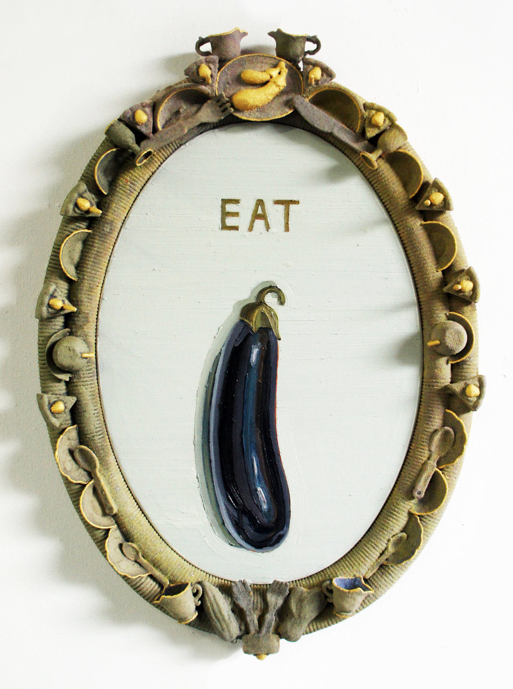 EAT (a dick)  Oil on canvas / Frame: oil, acrylic + sand on plastic  19 x 28 IN