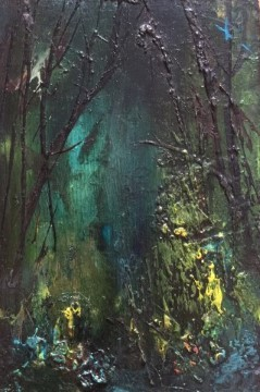 forest rest iv - oil on board - 15x10cm - sold
