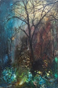 forest rest iii - oil on board - 15x10cm