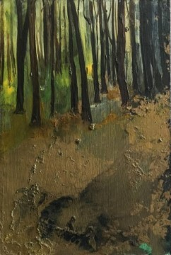 forest floor gold - mixed media on board - 15x10cm - sold
