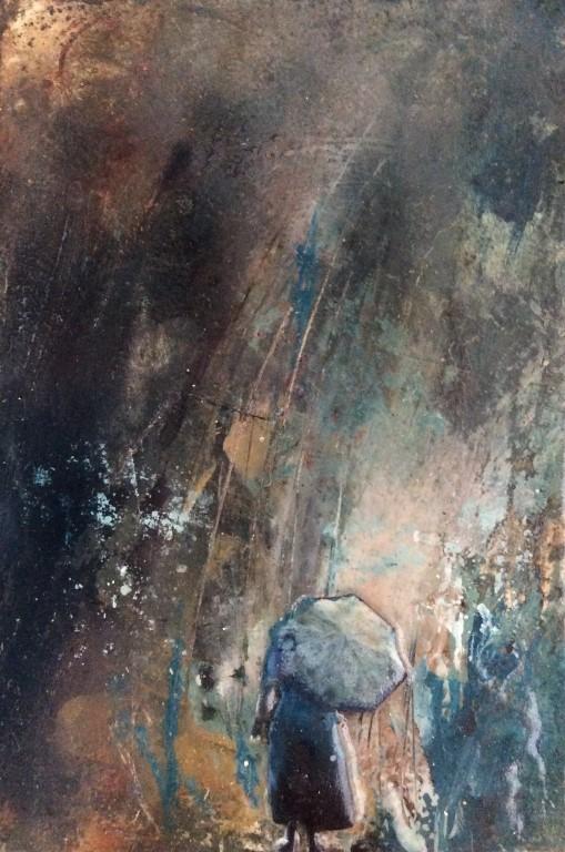 Rain Shines Clear - SOLD - mixed media on board - 15x10cm