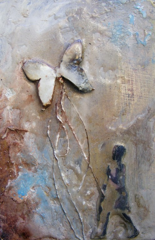 Not Alone - SOLD - mixed media on board - 15x10cm