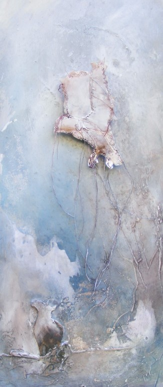 Apart - mixed media on board, shadow box - 42x18cm