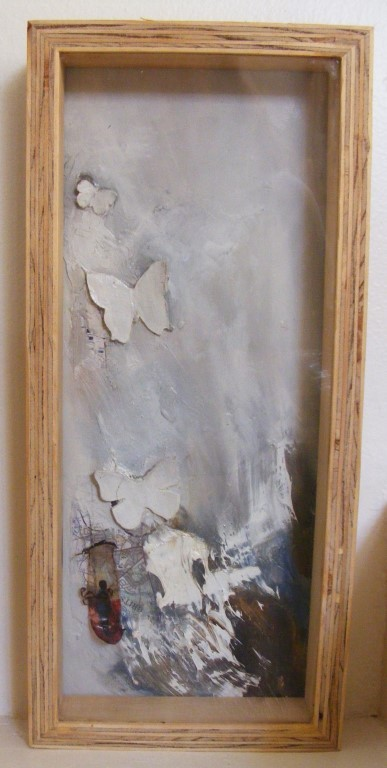 Runaway Flyaway - mixed media on board, shadow box - 42x18cm