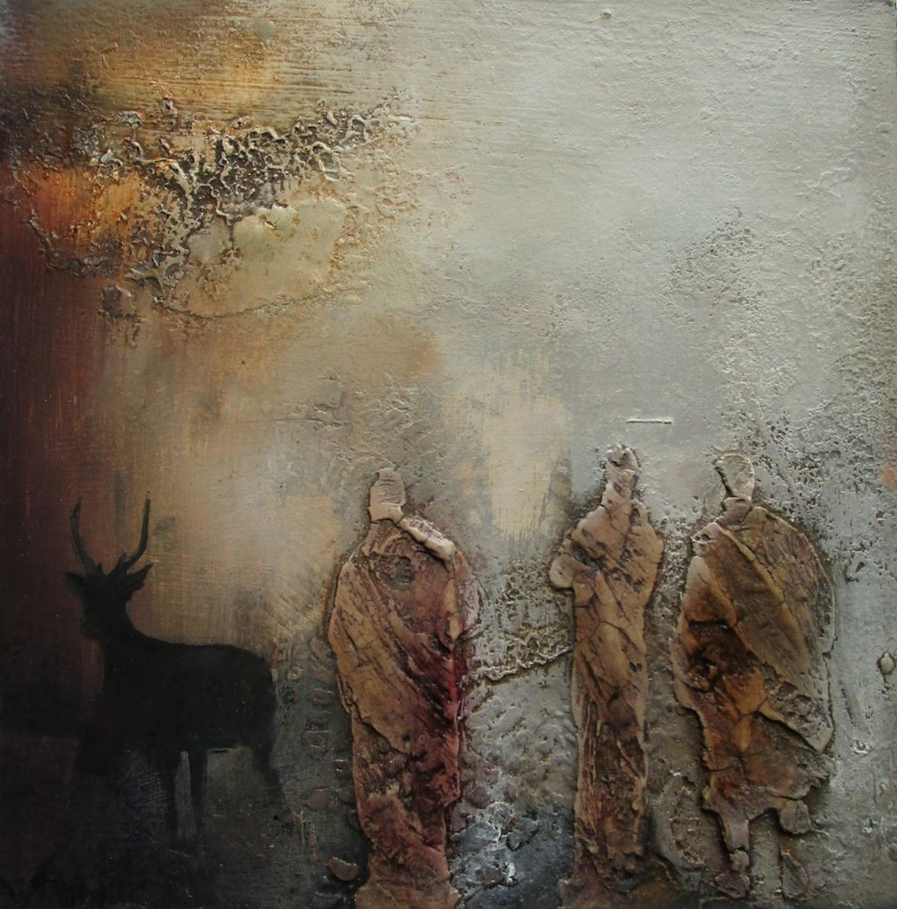 amidst the deer - mixed media on board - 20x20cm - SOLD