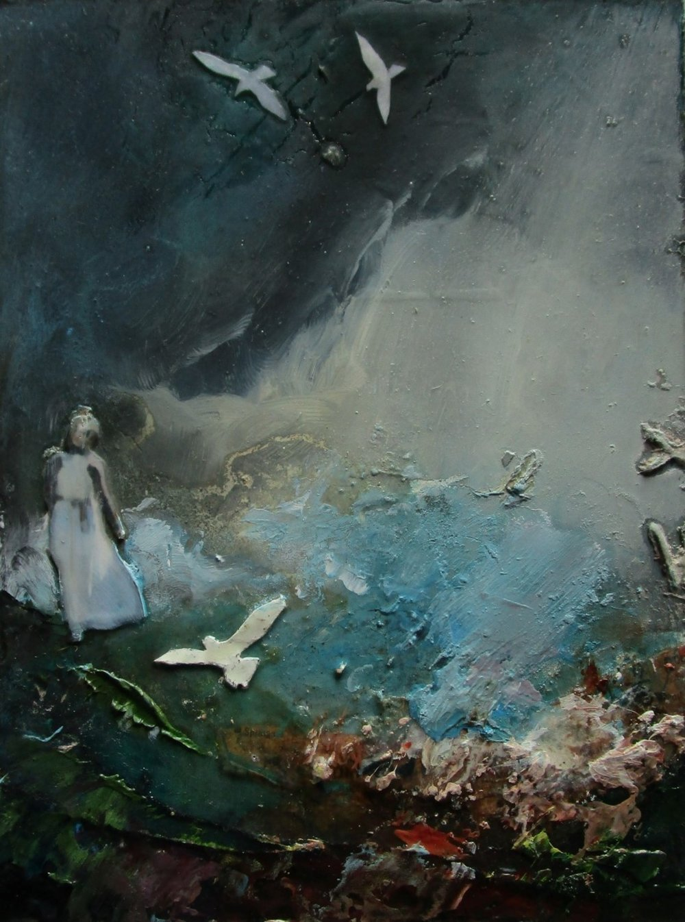hope rises - mixed media on board - 16x12cm - SOLD