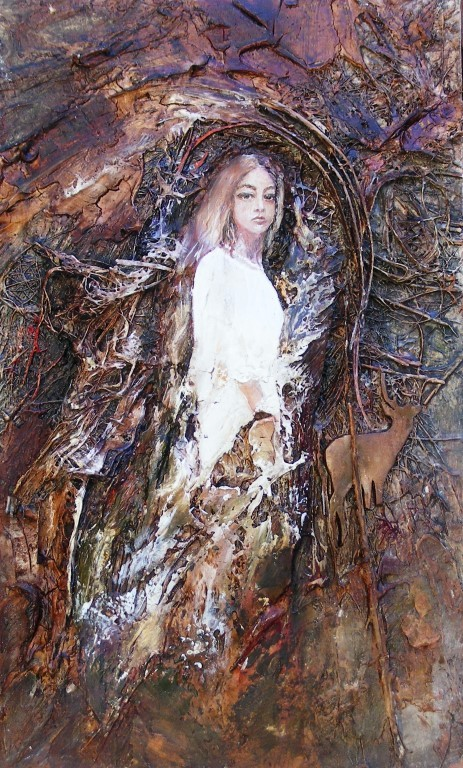 From the Forest, Bride - mixed media on board - 40x24cm - SOLD