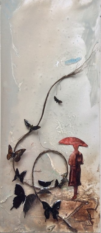 Wings to Fly - mixed media on board, shadow box - 42x18cm