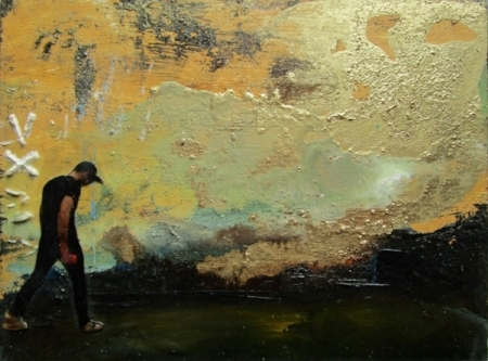 finding gold i - mixed media on board - 12x16cm - SOLD