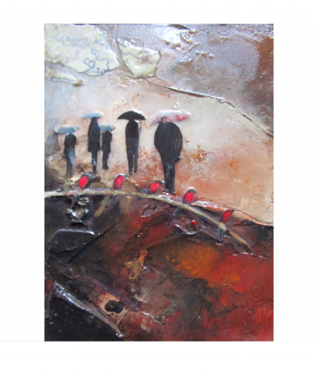Carmines Five - Mixed Media on Board - 16x12cm - SOLD