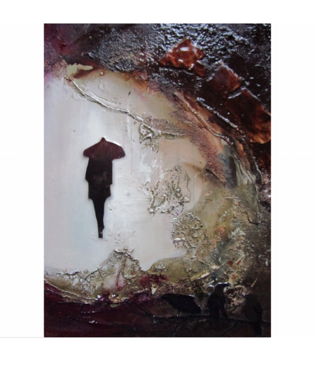 Sheltered Cave - Mixed Media on Board - 16x12cm