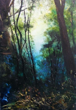 Understory - SOLD - mixed media on board - 26x18cm