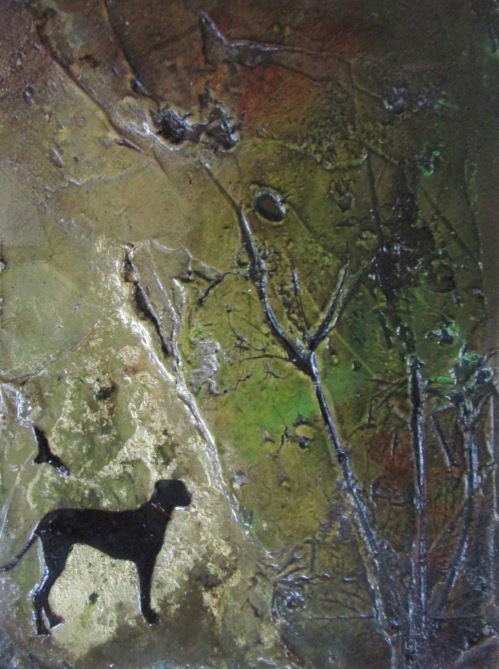Lara Mellon - Journey through Fields - Mixed Media on Board - 16x12cm.JPG