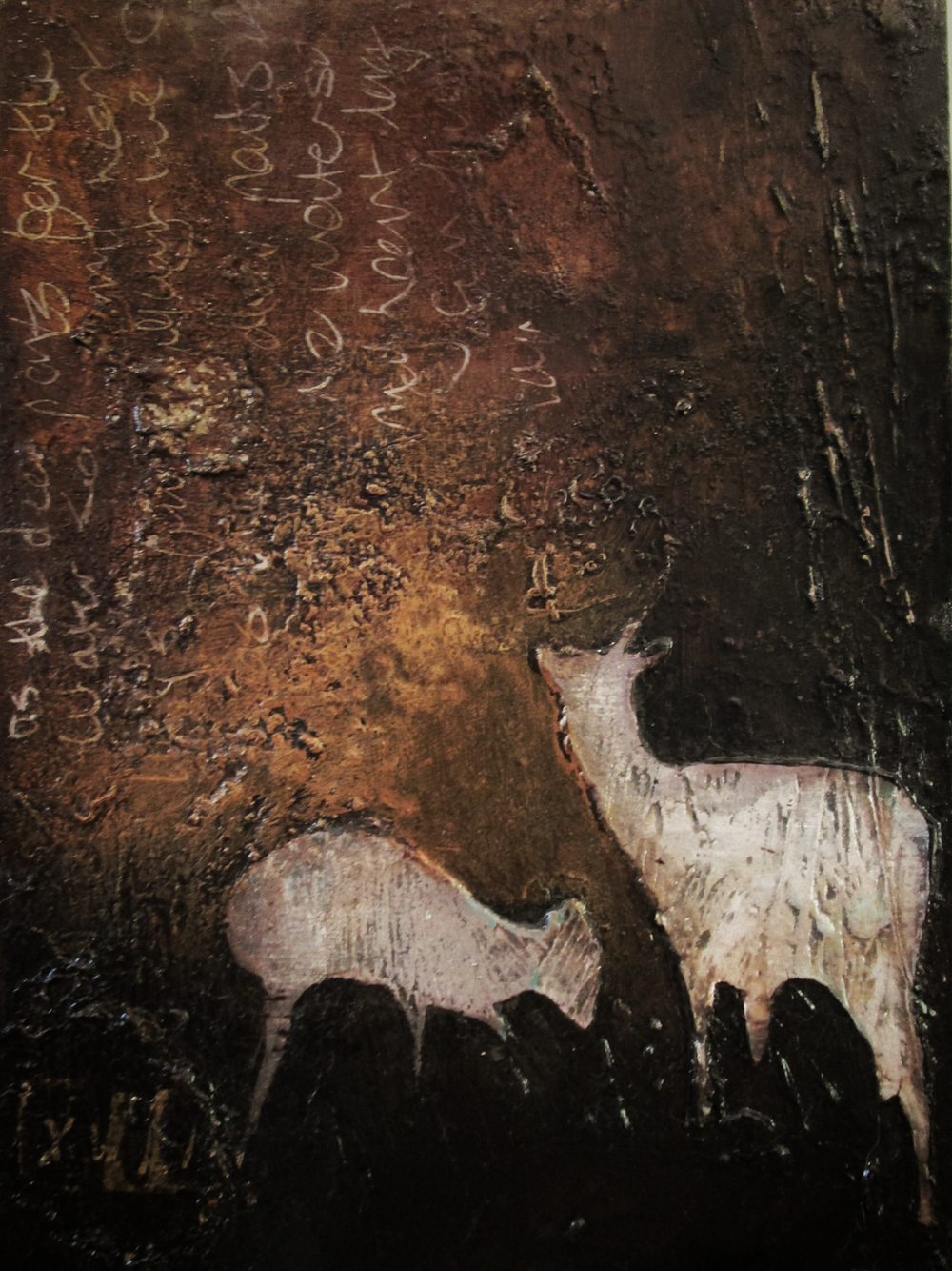 Lara Mellon - Deer Friends - Mixed Media on Board - 16x12cm..PNG