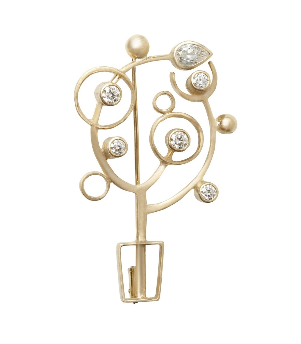 shining tree _ brooch, 18K yellow gold, diamonds