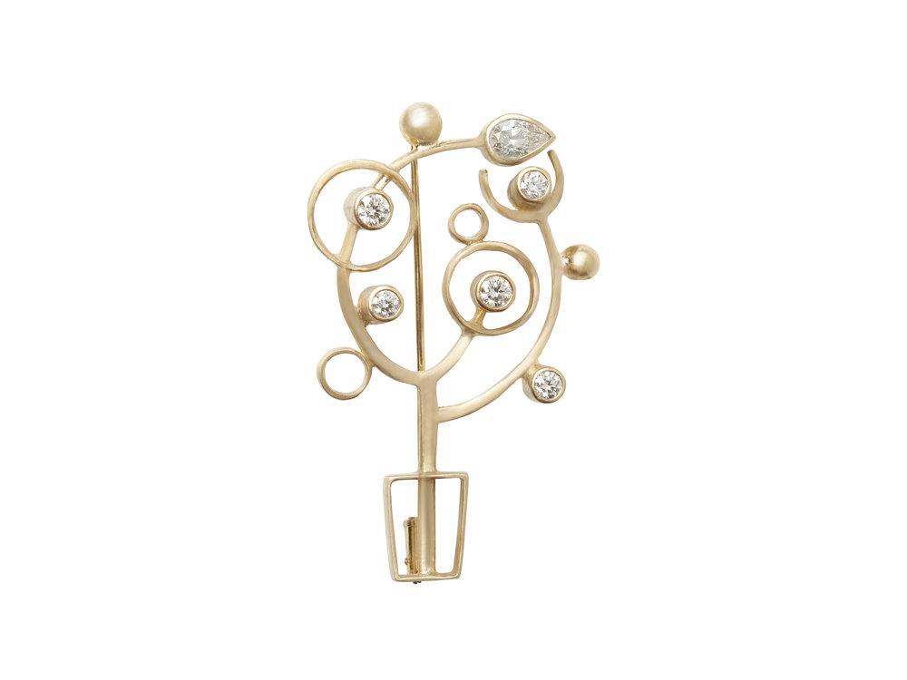 shining tree _ brooch,18K yellow gold, diamonds