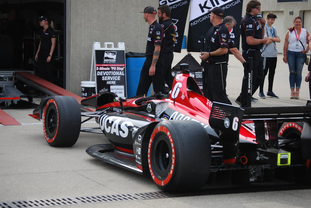 Robert Wickens' car awaits technical inspection following qualifying for the 2018 IndyCar Grand Prix