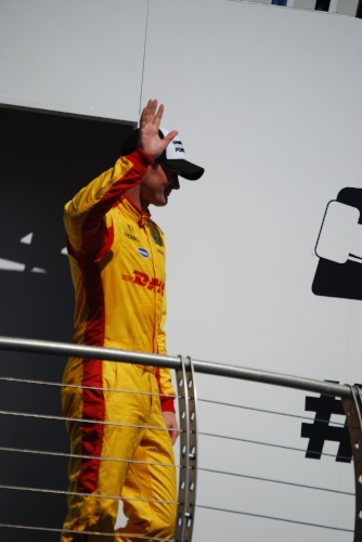 This is not Ryan Hunter-Reay following his win at Sonoma…this is at the Portland Podium